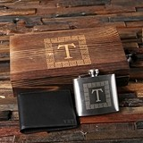 Monogrammed Engraved Leather Wallet and Swing-Top Flask in Wood Box