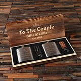 Personalized Couple's Gift-Set with Flasks and Key Chains in Wood Box