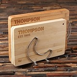 Personalized Bamboo Cutting Boards w/ Stainless Steel Rack (Set of 4)