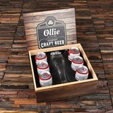 Personalized 24 oz Pilsner Beer Glass, Opener and Black Label Wood Box