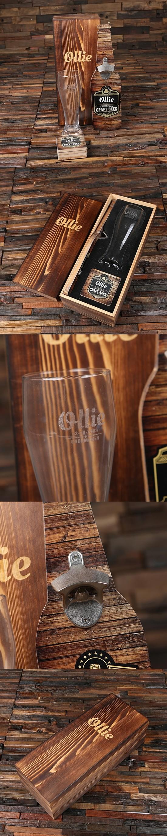 Black Label Wall Hang Bottle Opener, 4 Wood Coasters & Pilsner Glass