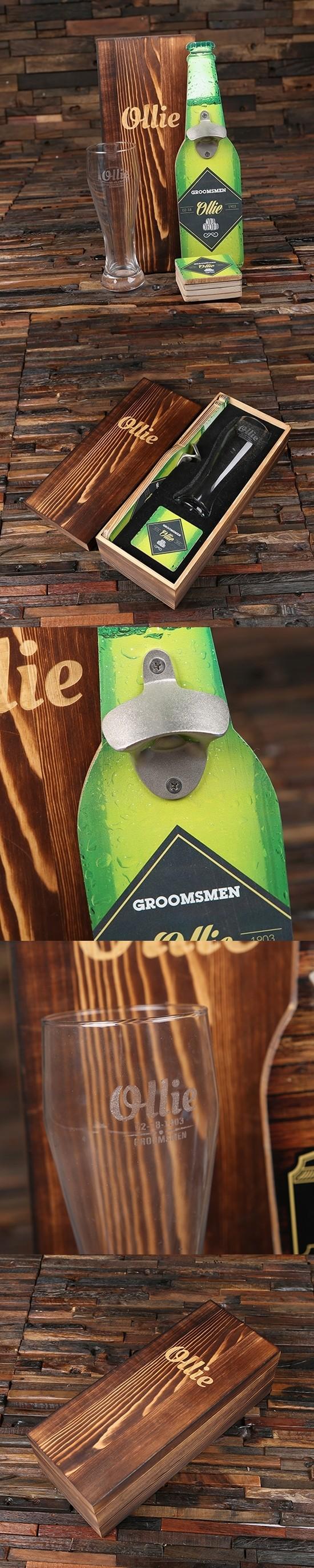 Diamond Label Wall Hang Bottle Opener, 4 Wood Coasters & Pilsner Glass