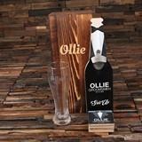 Tuxedo Theme Wall Hang Bottle Opener, 4 Wood Coasters & Pilsner Glass
