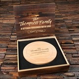 Personalized Round Cheese Board with Utensils in Wood Gift-Box