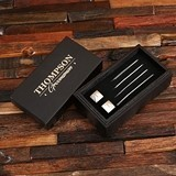 Personalized Metal Cuff Links and Collar Stays Groomsmen Gift Set