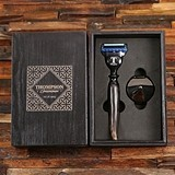 Personalized Ox-Horn-Handled Razor with Stand in Wood Gift-Box