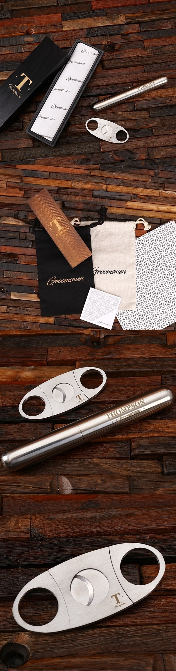 Personalized Cigar Cutter and Holder in Wood Gift-Box Groomsmen Gift