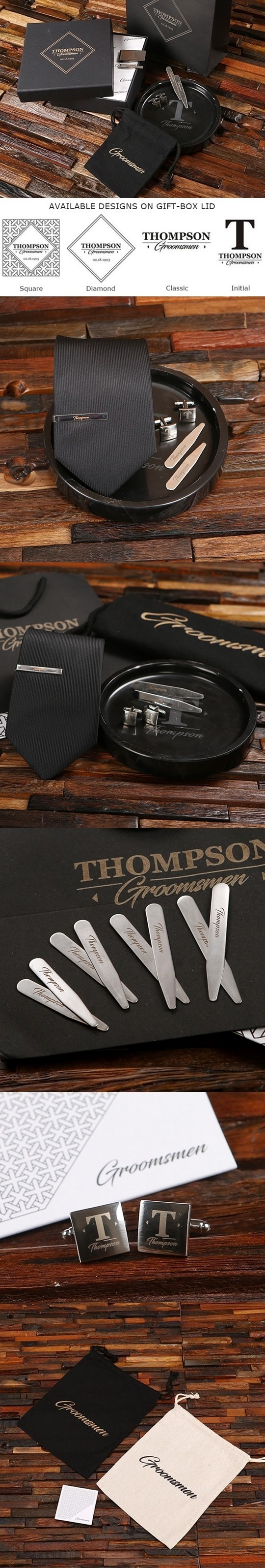 Personalized Tray, Tie, Tie Clip, Cuff Links and Collar Stays Gift-Set