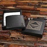 Personalized Leather Wallet & Cuff Links, Black Sheen Finish Wood Box