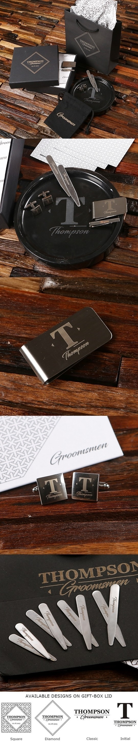 Personalized Gentleman's Accessory Set with Money Clip and Marble Tray