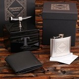 Personalized Leather Wallet, Flask and Ox-Horn Handle Box in Gift-Box