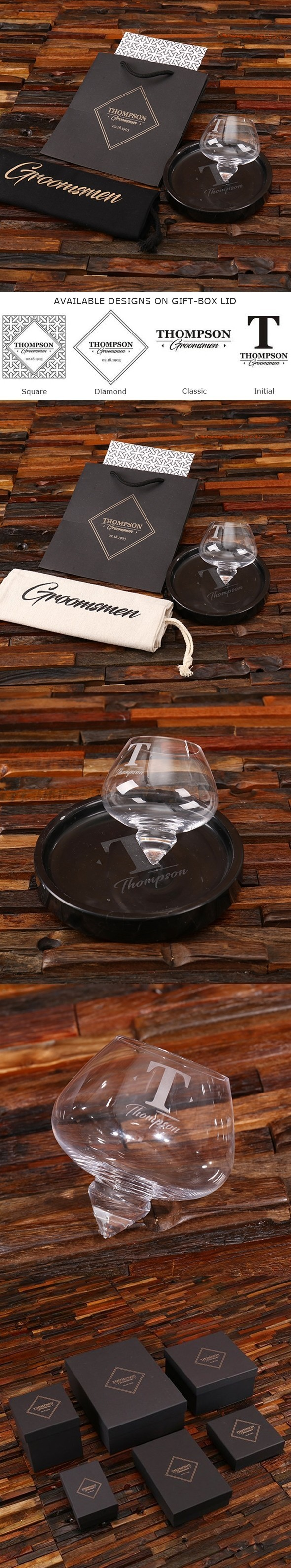 Personalized Rocking Whiskey Glass and Round Marble Tray in Gift-Box
