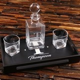 Personalized Whiskey Decanter, Rocks Glasses & Wood Bar Tray Gift-Set