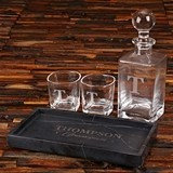 Personalized Whiskey Decanter, Rocks Glasses and Marble Bar Tray Set