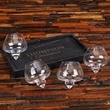 Personalized 4 Rocking Whiskey Glasses and Rectangular Marble Bar Tray