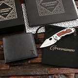 Personalized Leather Wallet & Browning Folding Knife in Wood Gift-Box