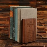 Personalized Black-Walnut Wood and Golden-Brass Bookends Gift-Set