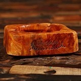 Personalized Natural-Wood 3-Cigar Ashtray with Rustic Design