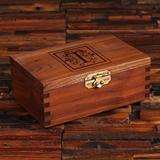Keepsake Walnut Wood Box with Flourish Monogram Initial on Lid