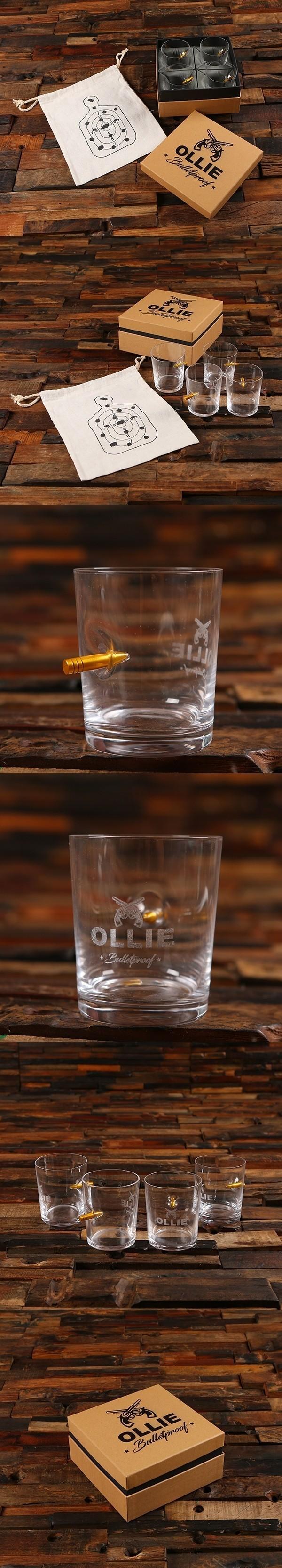 Personalized .50 Caliber Bullet Whiskey Rocks Glasses Gift-Set