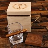 Personalized Cigar-Holding Rocks Glass & Wood Coaster in Wood Gift-Box