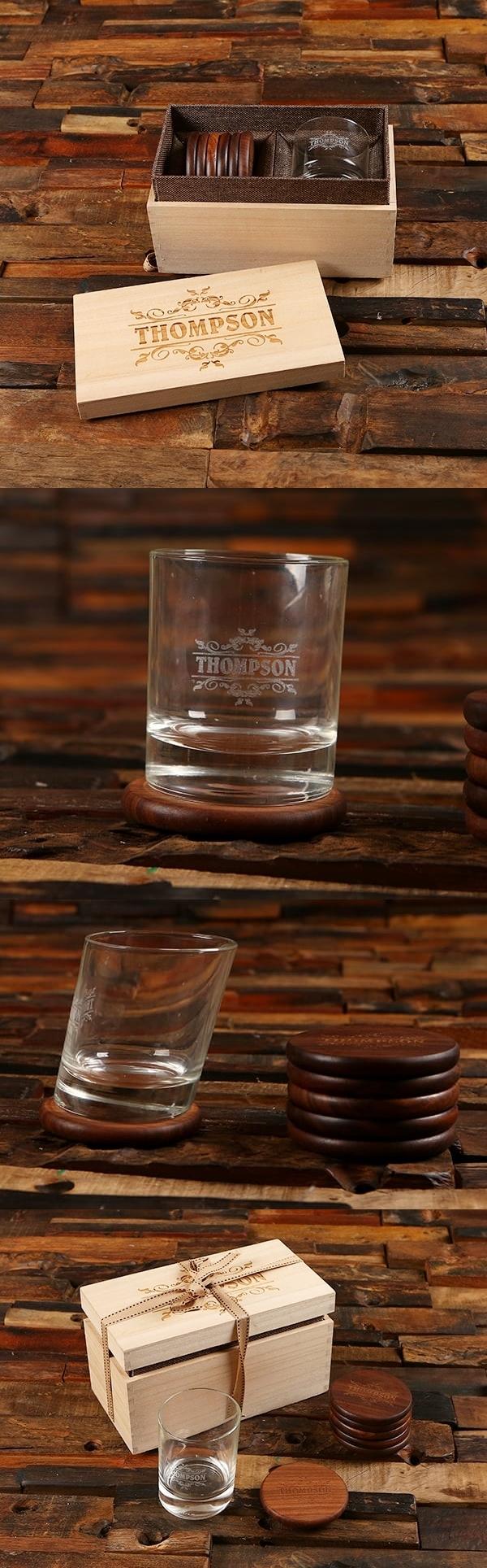 Personalized Slanted Rocks Glass, Walnut Coasters and Wood Gift Box