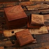 Personalized Black-Walnut Wood Coasters and Storage Box (Set of 4)