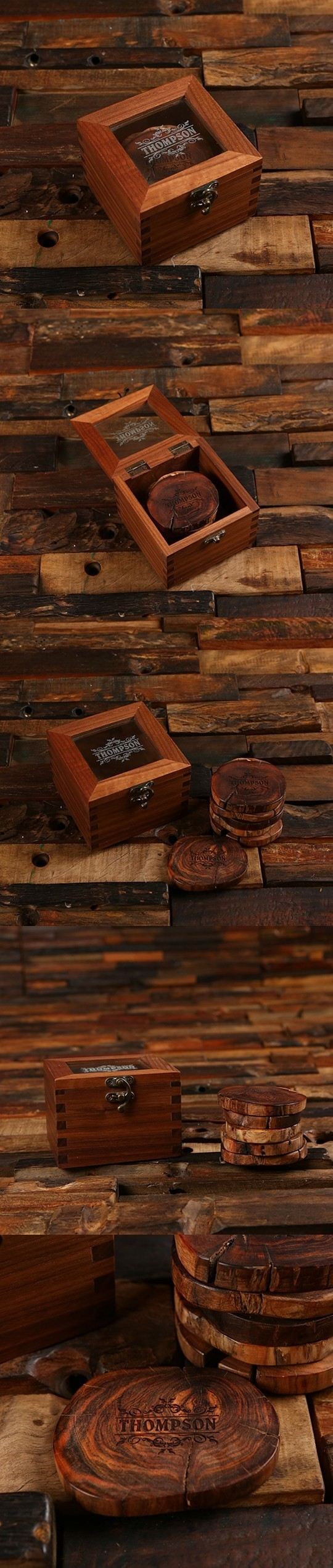 Personalized Wood Slice Coasters in Windowed Wood Gift-Box (Set of 5)