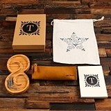 Personalized Swirl Wood Tray, Journal, Pen & Pen Pouch Office Gift-Set