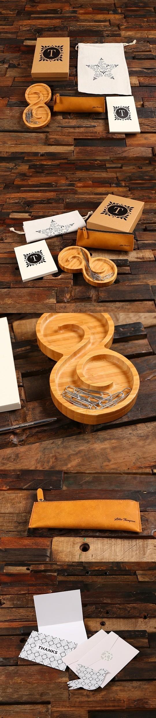 Personalized Swirl Wood Tray, Journal, Pen & Pen Pouch Office Gift-Set