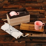 Monogrammed Gift-Set with Coffee Mugs, Wood Snack Tray in Wood Box