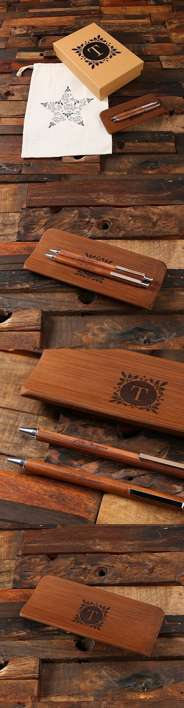 Personalized Walnut Wood Pens & Wood Stationery Tray in Kraft Gift-Box