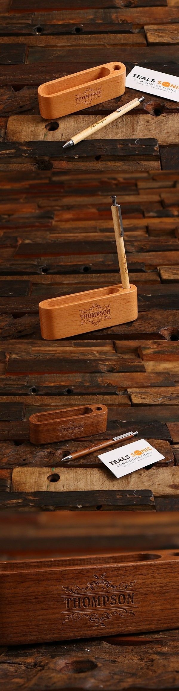 Personalized Black-Walnut or Maple Wood Pen and Business Card Holder