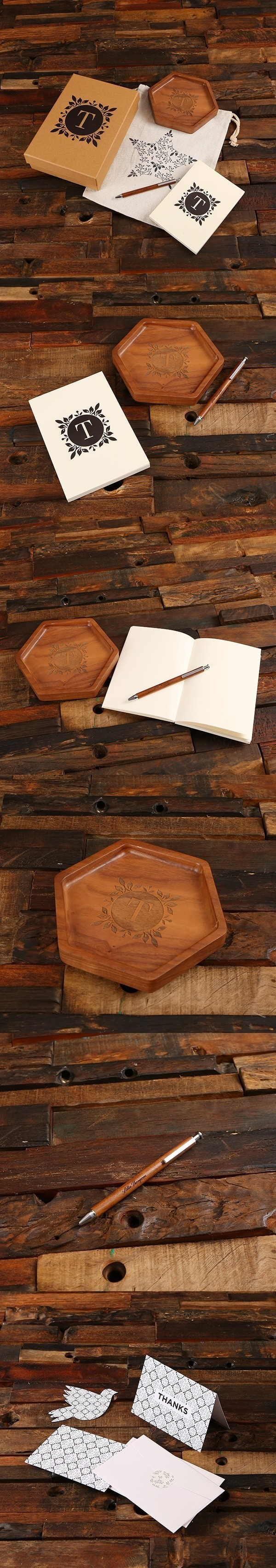 Monogrammed Gift-Set with Wood Desk Tray, Pen and Journal in Kraft Box