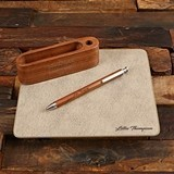 Personalized Leather Mouse Pad, Walnut Wood Card Holder and Pen