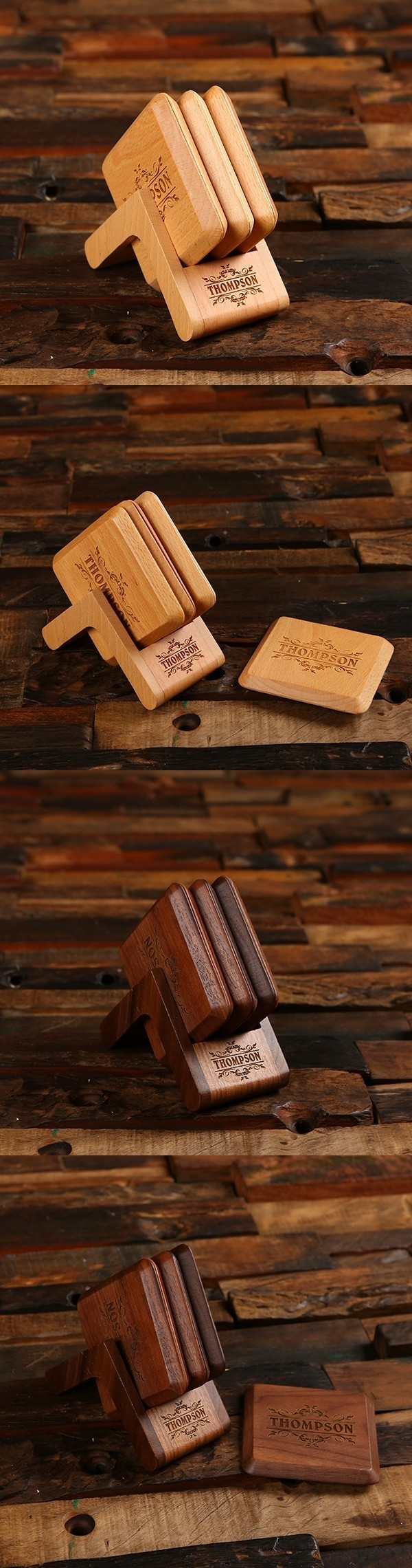 Personalized Black-Walnut or Beech-Wood Coasters with Stand (Set of 4)