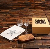 Gift Set with Monogrammed Wine Glasses, Cheese Board & Kraft Gift-Box