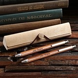 Personalized Maple or Walnut Wood Pen Set with Bentwood Pen Case