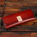 Monogrammed Eyeglass Case in Chestnut Brown Genuine Leather