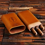 "Personalized Leather and Wood ""Cohiba"" Three-Cigar Holder"