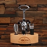 Stainless 6-pc Wine Accessories Tool Set in Personalized Wood Holder