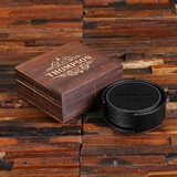 Personalized Black/Brown Round Leather Coasters, Holder and Box Set