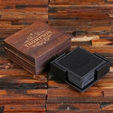 Personalized Black/Brown Square Leather Coasters, Holder and Box Set