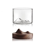 Mountaineer Whiskey Glass Set with Black Walnut Wood Coaster