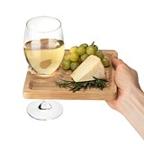 Snack Bamboo-Wood Wine Glass Holding Appetizer Plate by True