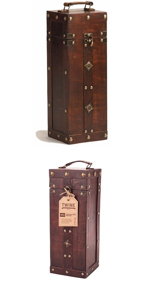 Chateau: Antique-Look Treasure Chest 1-Bottle Wine Box by Twine