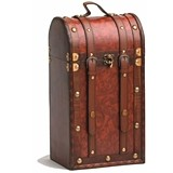 Chateau: 2 Bottle Antique-Look Treasure Chest Wood Wine Box by Twine