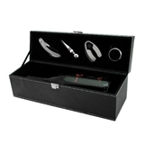 Black Faux-Leather Wine Bottle Gift-Box with Accessory Set by True