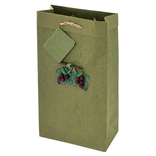 2-Bottle Lush Green Mulberry-Paper Wine Bag with Grapevine Applique