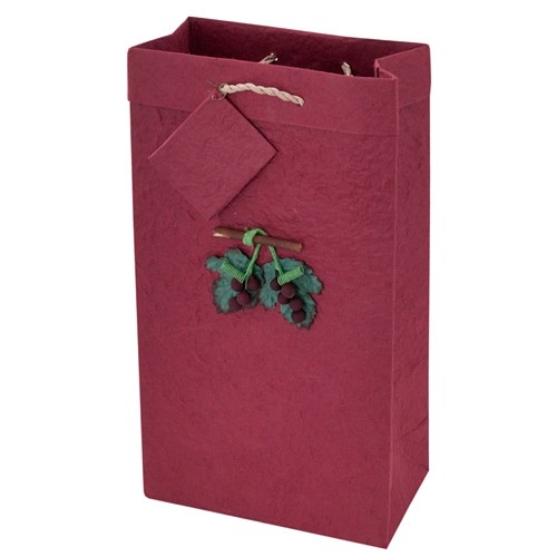 2-Bottle Crush Crimson Mulberry-Paper Wine Bag with Grapevine Applique